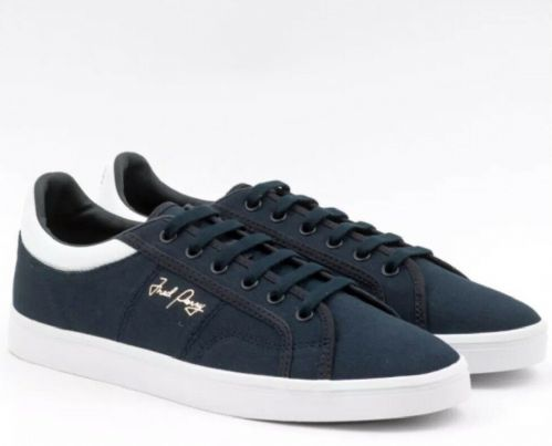 Men's Fred Perry Navy Sidespin Canvas Trainers Brand New Boxed B8244-608